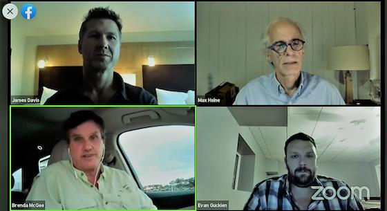 zoom meeting with James Davis, Max Heine, John McGee, and Evan Guckien