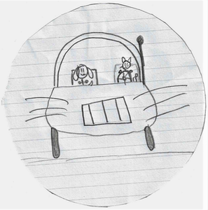 drawing of a cat and dog driving a semi truck
