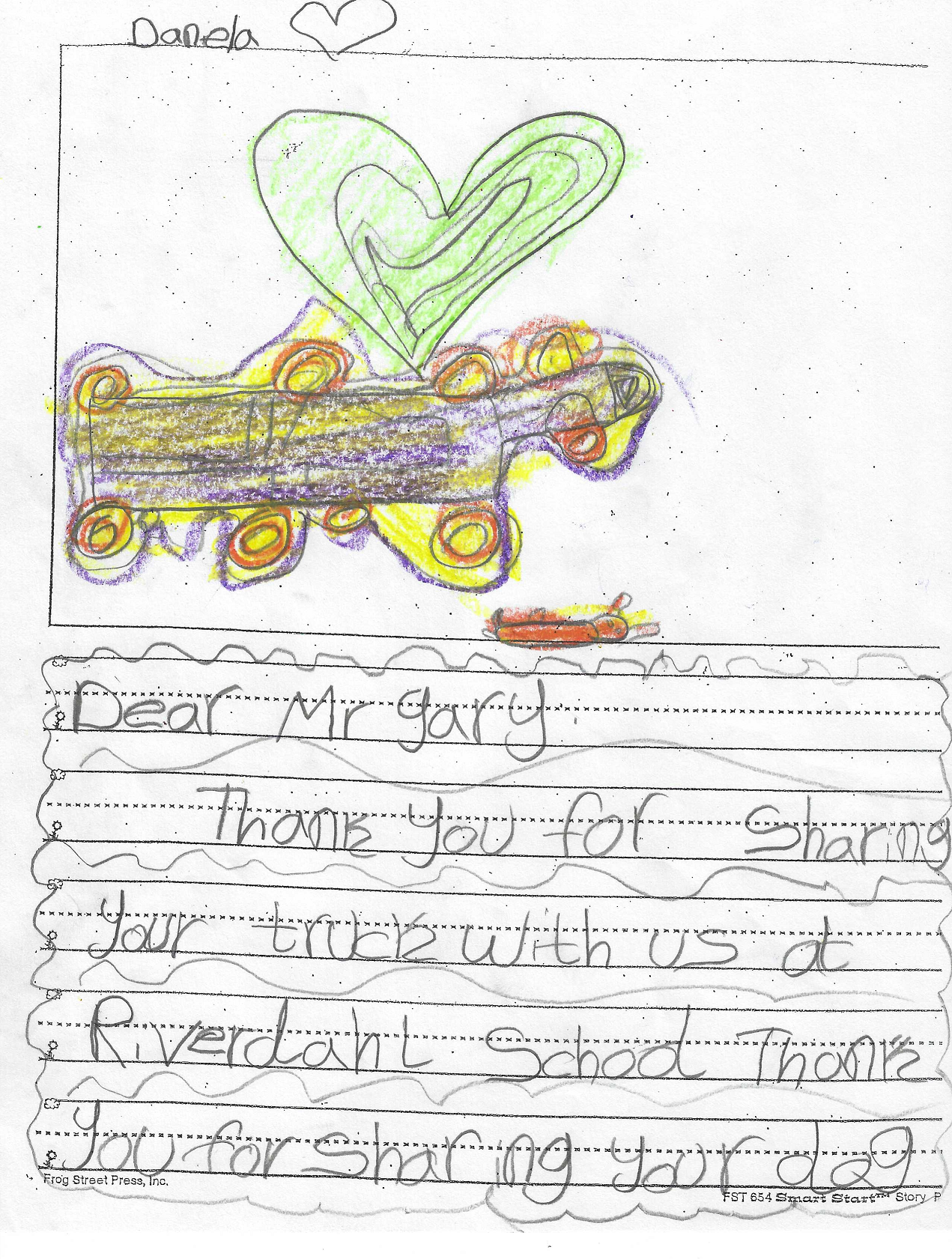 semi truck drawing and letter to Gary Buchs from kid