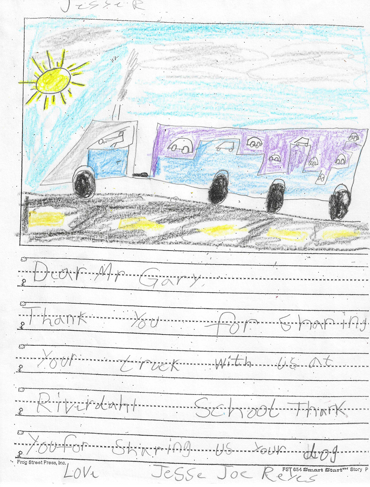 letter and drawing from kid to Gary Buchs