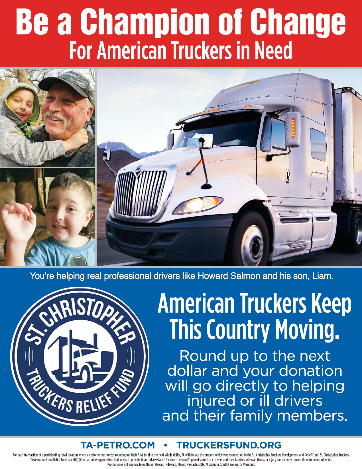 """St. Christopher's Truckers Relief Fund """"Be a Champion of Change For American Truckers in Need"""" flyer"""