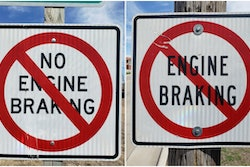 No Engine Braking and Engine Braking signs with red slashes through them