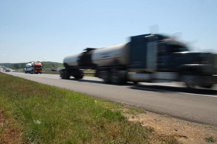 speeding truck on highway