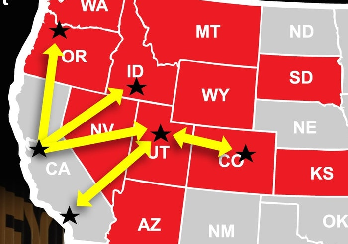 2020 hours of service violations map west US