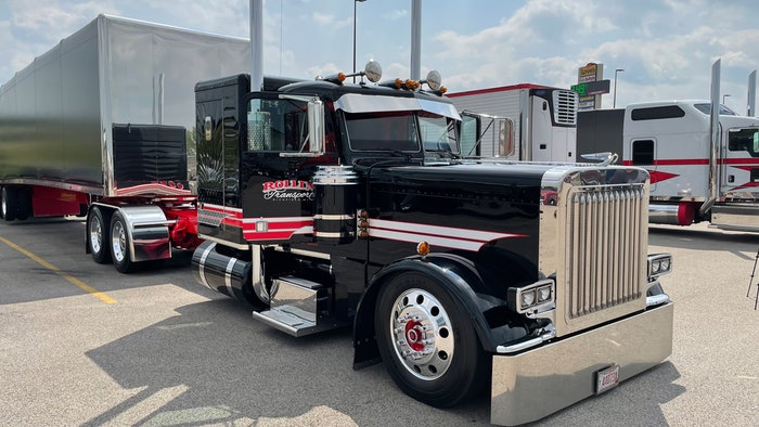 Kiegan Nelson drives this 2020 Peterbilt 389 for Rollin' Transport, out of Richfield, Wisconsin. The truck won Best of Show at the 39th annual Shell Rotella SuperRigs in Hampshire, Illinois.