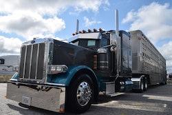 Chris Young's custom 2021 Peterbilt 389 and livestock trailer