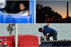 compilation of sharae moore, washington monument, and man washing truck stack