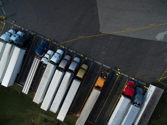 trucks in a parking lot