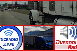 TNCRadio.Live logo, overdrive radio logo, and two semi-trucks